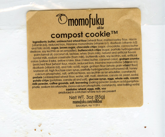 Compost Cookie wrapper from Momofuku Milk Bar.