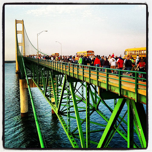 A picture of walkers at the 2012 Mackinac Bridge Walk
