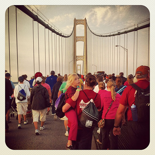 Walkers on the 2012 Mackinac Bridge Walk
