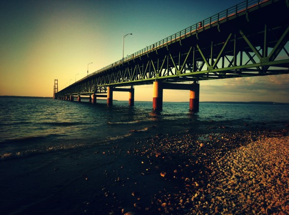 A photo of sunset at the Mackinac Bridge