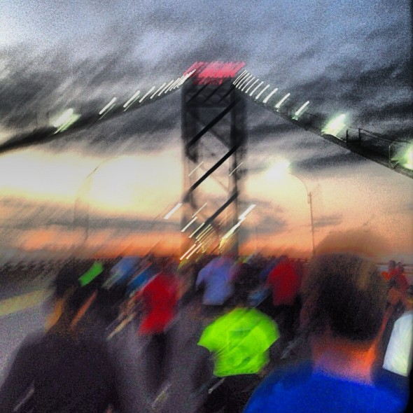 An image Crossing the Ambassador Bridge at the Detroit Half-Marathon
