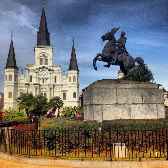 An image of St. Louis Cathedral from Jackson Square in New Orleans