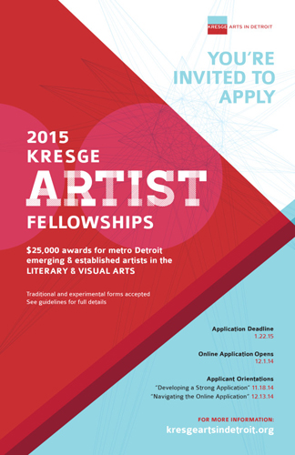 Flyer for the 2015 Kresge Artist Fellowships