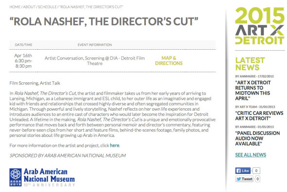 Flyer for Rola Nashef, The Director's Cut- AXD