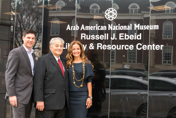 Devon Akmon, Mr. Russell J. Ebeid, and NAB Chair Manal Saab commemorating the Russell J. Ebeid Library & Resource Center at the AANM