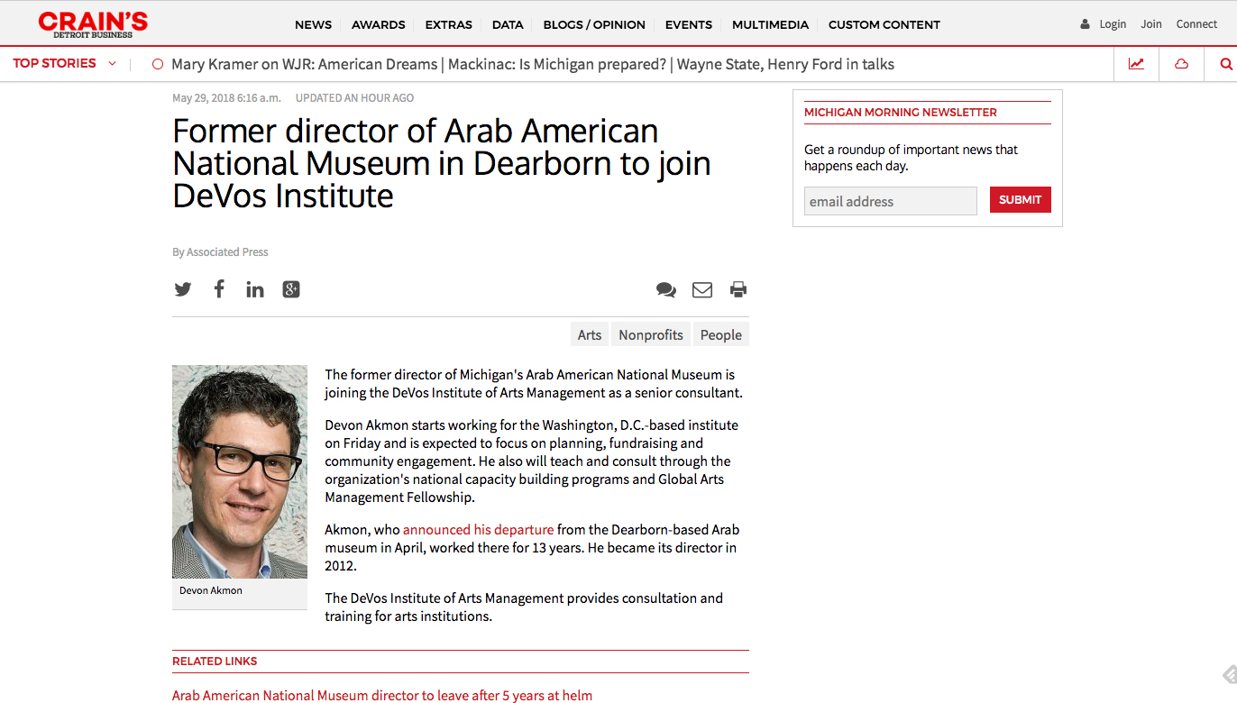 Crain's Detroit article on my appointment to the DeVos Institute of Arts Management