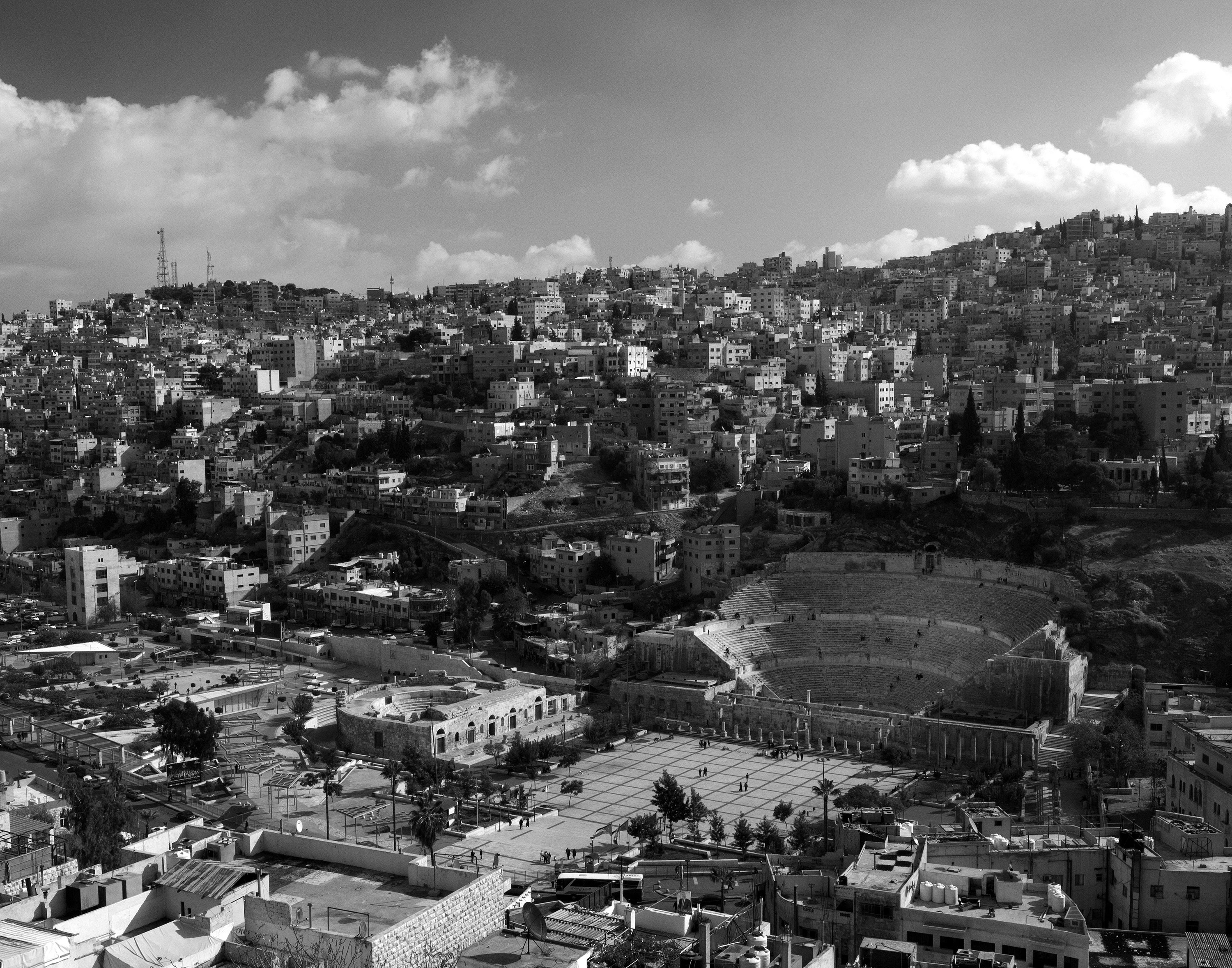 Looking south towards the Roman Theater from the Citadel in Amman, Jordan