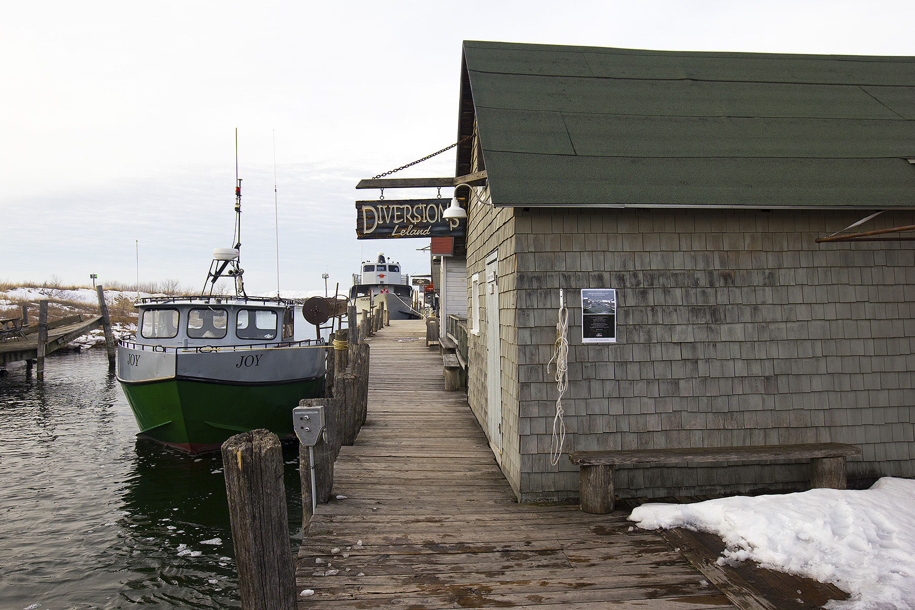 Leland's historic Fishtown in the winter